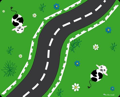 Tappetino mouse strada con mucche su prato